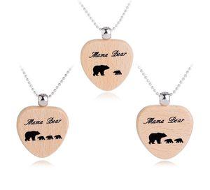 Mama Urso Madeira Chaveiro Colar Mama Urso Coração Chave Anéis Mãe e Filha Ursos Cubs Coração Charme De Madeira Mama Urso Colares 60 pcs