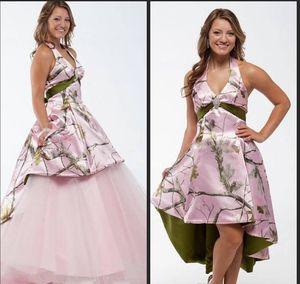 Rosa vestidos de novia 2018 de camuflaje con falda desmontable por encargo del estilo rural Vestidos de novia con Camo desmontable de tren