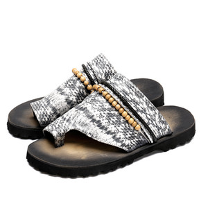 Bead Chain Snakeskin Embossed Men Slipper Flat Retro Beach Flip-Flops Fashion Summer Slides Male Gladiator Sandals