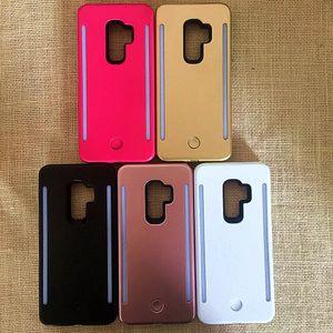 Samsung S9 S9 + Dolgu ışığı için Özçekim LED Işık telefon kılıfları Telefon çift Taraf Işık Pil Durumda iphone Için X 8 7 7 s S8 S8 artı logolu