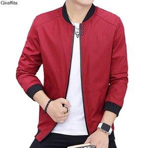 새 도착 SpringAutumn Men 's Jackets 솔리드 컬러 코트 남성 쿨 야구 칼라 캐주얼 자켓 브랜드 Male Coats / Jackets