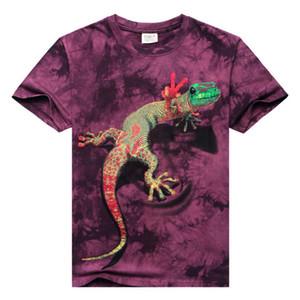 Qualidade de Algodão T-shirt Dos Homens 3D tie-dye De Mangas Curtas-O-pescoço Lagarto 3d Água Impresso Camisetas Casual Sprots Camisas Legais Hip Hop Roupas S-3XL
