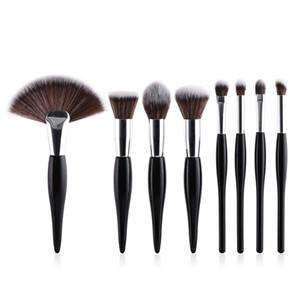 8pcs set makeup brush set soft synthetic head wood handle brushes fan flat brush set for women eyeshadow facial make up T08051