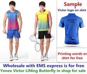 도매 무료 EMS, 무료, 새로운 배드민턴 셔츠 옷 탁구 T 스포츠 셔츠 옷 1042에 대한 텍스트 인쇄