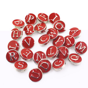 Vendita calda 52 pz / lotto Alfabeto Rosso A-Z Lettere Bottoni a pressione Per 12mm Snap Braccialetto Della CollanaBangles DIY Snap ciondoli gioielli ciondolo
