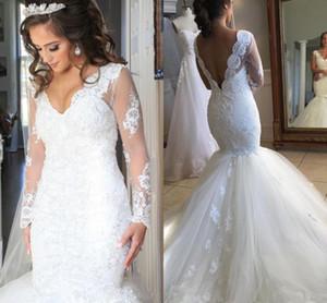 Старинные аппликации белые свадебные платья с чистой длинными рукавами v шеи тюль русалка свадебные платья для свадебных платьев
