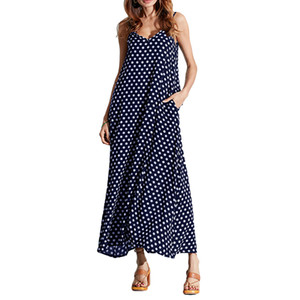 Venta al por mayor 5xl Summer Dress Women Polka Dot Print V cuello sin mangas Sundress Loose Maxi Long Beach Bohemian Vintage Dress