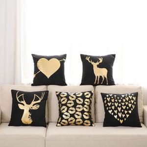 Bronzing Foil Gold Pillow Case Sofa Waist Throw Cushion Cover Home Decor Cushion Soft Pillows 45X45CM Top Quality by DHL