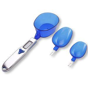 Nuevo estilo 500 g / 0.1 g portátil LED escalas de medición Cuchara de medición Dieta de la comida Cocina azul Herramienta de medición de la Escala Digital Regalos creativos
