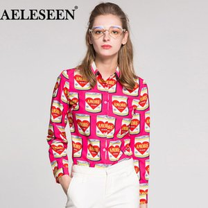 AELESEEN Female High Quality Pink Blouses Fashion Full Sleeve  Tops 2018 Canned Print Turn-down Collar Runway Shirt