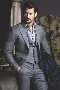 2017 Elegant Tailor Made 3 Pieces Business Suits For Wedding Men Grey Wool Formal Dress Men Wedding Suit Groom Tuxedos Costume Homme