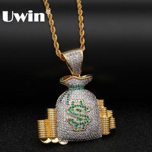 UWIN jóias de luxo rico Bag Colar Stack Coin Dinheiro US Corrente de Ouro Cor Bling para fora congelado CZ Cubic Zircona Pendant Hiphop