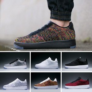 2017 Nike Air Force 1 Flyknit Low new style fly line Uomo Donna High low lover Scarpe da skateboard 1 Una maglia taglia Eur 40-45 mesh