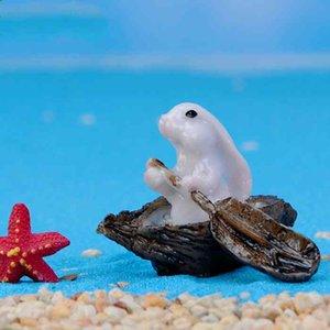 Miniatura de resina Serie Jade Rabbit Canotaje Abrazo de col Hada Jardín Casa de muñecas Accesorio Bonsai Decoración Micro paisaje Ornamento