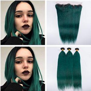 검은 색과 진한 녹색 옴브린 페루 인간의 머리카락 3Bundles 레이스와 이중 Wefts 프론트 Clsoure 4x4 스트레이트 # 1B / Green Ombre Hair Weaves