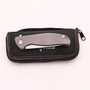 الأخضر شوكة F95 زعنفة الطي سكين d2 بليد tc4 التيتانيوم شقة مقبض في الدفاع الذاتي التخييم الصيد سكاكين الجيب الفاكهة أدوات edc
