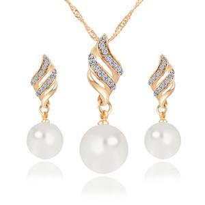 Luxus Brautschmuck Set Simulierte Perlenkette Strass Chamrs Ohrringe Set Spiralschmuck Set Für Lady Girl Choker