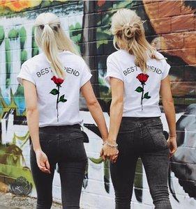 Nuevas Mujeres Mejor Amigo Impreso Manga Corta Cuello Redondo Camisetas Color Sólido Blanco Tops Mujer Camiseta Envío Gratis