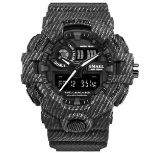 Новый роскошный мужской бренд SMAEL открытый денима спортивный водонепроницаемый двойной дисплей мужские часы многофункциональные светодиодные электронные часы
