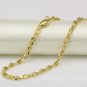 Belle AU750 reale oro giallo 18K catena 24inch donne della collana di collegamento Stud Men
