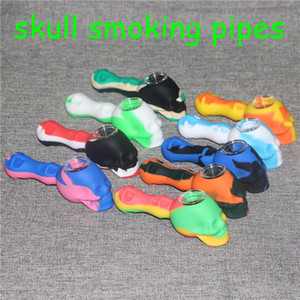 Creative Silicone Tobacco Smoking Cigarette Pipe Water Hookah Bong multipe Colors Portable Skull Hand Spoon Pipes Tools With glass Bowl