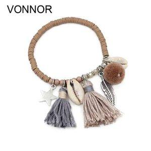VONNOR gioielli moda donna colorato fimo perline bracciali fatti a mano con nappa pendente gioielli shell filo braccialetto per ragazza