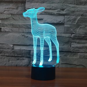 Visual Deer 3D illusion Night Light 7 Color Change LED Table Desk Lamp 2018 Gifts NEW Home Decor Acrylic Light Fixtures #R87