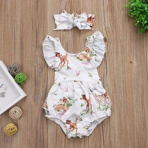 Pagliaccetto stampa capretto neonato bambino manica a Mosca Tute 2018 nuovi bambini di estate Arrampicata vestiti con Archetto fascia 2 pz / set C3603