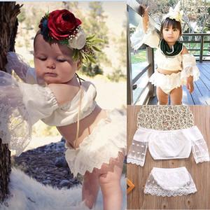 Yaz bebek dantel 2 adet / takım beyaz backless t-shirt + tül kısa etek 2018 yeni çocuklar katı renk giyim C3858 suits