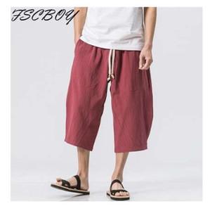 Pantalones de lino de los hombres de la cintura elástica de los hombres de la pierna ancha Harem de algodón pantalones holgados para hombre Pantalones Capri de lino del remiendo