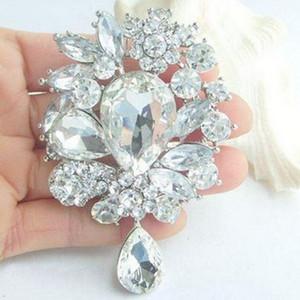 8 * 5.5cm Flor grande Waterdrop Broche Big Crystal Boda Broche de la moda Broche de la moda para las mujeres Banquete Top Calidad