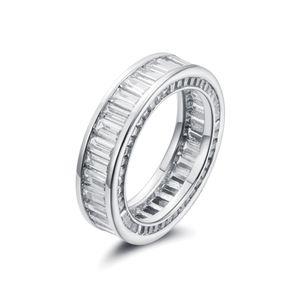 Anello sottile di T di Baguette T Anello di fidanzamento fatto a mano 925 anelli d'argento sterling per le donne Accessori di barretta di modo Anel Wedding Band Fine Jewelry