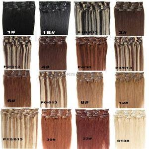 """Clipe 9A na extensão do cabelo humano reto cor Mix Brown Loira 16 """"-24"""" Clip Remy indiano no cabelo da cabeça completa"""