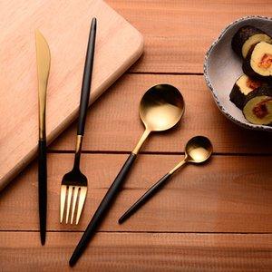 304 Stainless Steel Cutlery Gold Flatware Set Black Tableware Dinnerware 1 Dinner Knife + 1 Spoon + 1 Fork + One tea Spoon