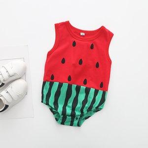 Été Bébé Bande Dessinée Pastèque Fruits Forme Animal Triangle Mémoires Barboteuses Vêtements Même Bébé Combinaisons Enfants Mince 3pcs beaucoup