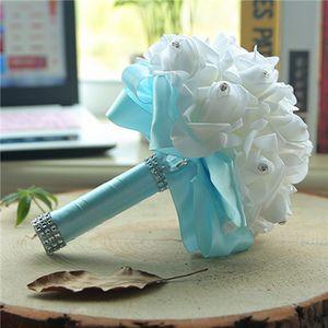 12 Farben Bunte Hochzeit Blumen Dekoration Künstliche Brautjungfer Brautsträuße Blume Perlen Perlen Braut Halten Blumen CPA1578Cheap F