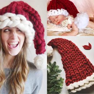 الشتاء للجنسين اليدوية الحياكة قبعة سانتا كلوز القبعات هدية عيد الصوف قبعة دافئة ذيل طويل للنساء الرجال البالغين