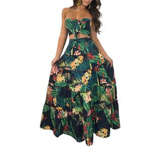 Verano Las mujeres de dos piezas de la playa de 2 piezas Vestido floral retro de la impresión del cordón-up recortada Tops + oscilación grande Fruncido falda larga Set