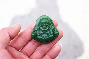 무료 배송 - 아름다운 (외부 몽골) emerald maitreya (부적). 손으로 조각 한 목걸이 펜던트.