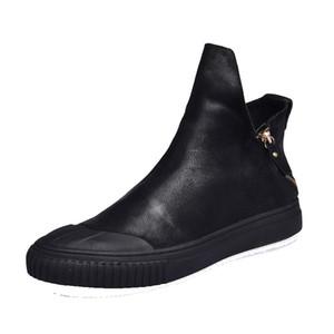 новый британский ретро мужчины молния кожаные сапоги обувь Мартин сапоги all-матч корейский корейский тенденция высокая обувь мужчины дышащий