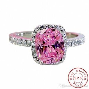 Hotstone88 Eternal 925 Sterling Silver Jewelry Princess-cut 3CT Pink square Topaz Diamond Rings finger Wedding Band Ring for Women