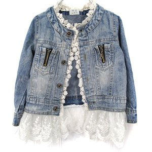 여자 진 재킷 키즈 레이스 코트 긴 소매 버튼 데님 재킷 여자를위한 2-7Y 새로운