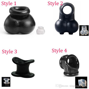 4 Styles Homme Scrotum squeeze Anneau Ball Stretcher Enhancer pénis manches Scrotum Pouch Delay Time Cock Ring Cage Chastity Sex Toy