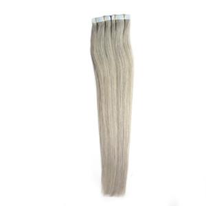 Fita Em Extensões Do Cabelo Humano 100g extensões de cabelo cinza prata Pele Invisível Trama Fita PU Em Extensões Do Cabelo