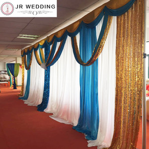 2017 New Design 3M*6M Colorful Ice Silk Sequin Swags and Drapes Wedding Backdrop Curtain 1PCS A Lot Free Shipping