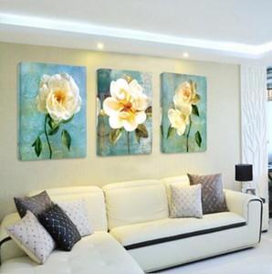 Çin gül Şakayık Begonya çiçekler DIY Sanat Yağ Duvar Resim 3 Panel Modern tuval baskılar boyama Ev Dekorasyon