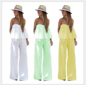 2018 New design chest wrap suspender Jumpsuits trousers two piece set for women Pure color fashion summer Jumpsuits 2 piece set