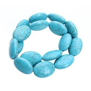16 pz / pacco 2.4 cm * 1.8 cm Grande Created Pietra Monili Che Fanno Forma Ovale Blu Creato Perline FAI DA TE Pietre Naturali Che Bordano F1183