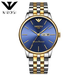 Men Gold Double calendar Solid watch Steel strip Butterfly snap watch Deep waterproof watch new style wholesale