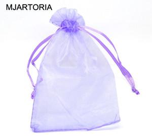 MJARTORIA 200pcs 10x15cm Фиолетовый органзы подарочные сумки сумки Drawstring Ювелирная упаковка Показать сумки Fit Прекрасные бусы